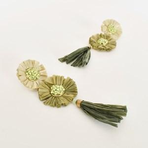 Raffia Tassel Drop Earrings