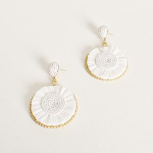 Beaded Centre Raffia Circle Earrings