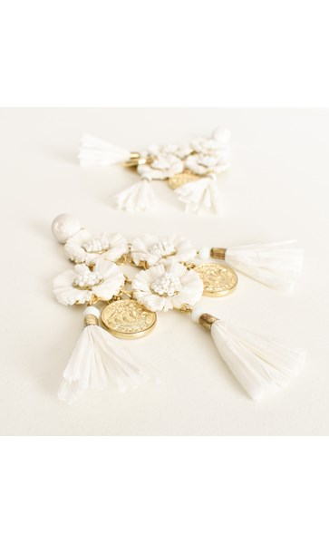Margarita Raffia Coin Tassel Earrings