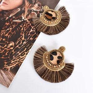 Hide Bead Fringe Earrings
