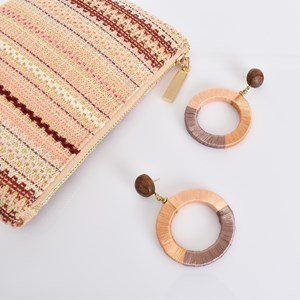 Wrapped Cotton Ring Earrings