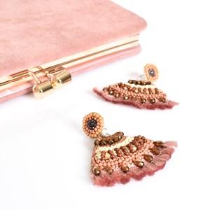 Curved Beaded Fringe Earrings
