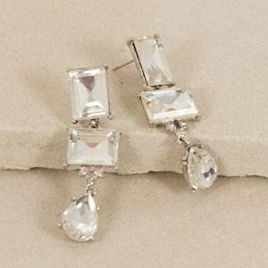 Double Baguette Jewel Teardrop Earring