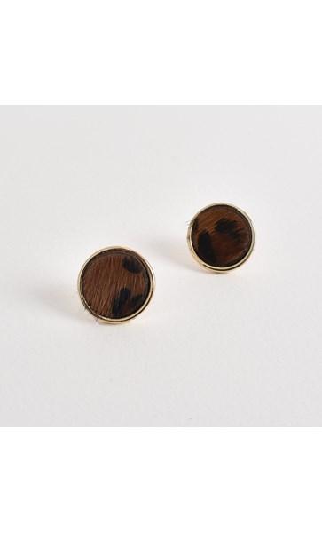 Hide Button Stud Earrings