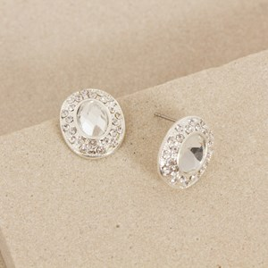 Diamante Edge Oval Jewel Mini Stud Earring