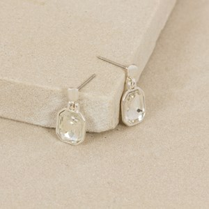 Jewelled Hexagon Drop Mini Stud Earring