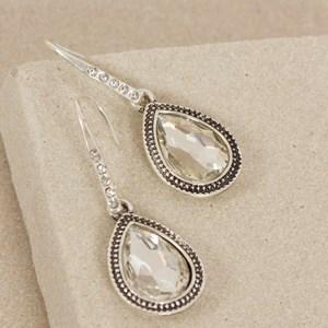 Jewelled Teardrop Diamante Hook Mini Earring
