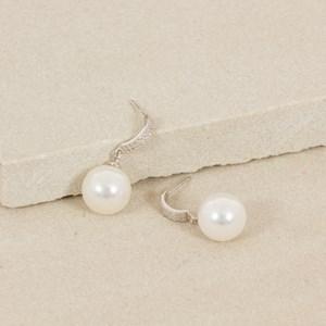 Curved Diamante Bar Pearl Drop Earring