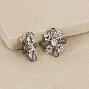 Crystal & Diamante Flower Clip On Earring