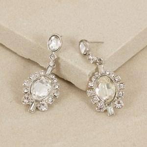 Deco Diamante Edge Oval Jewel Mini Drop Earring