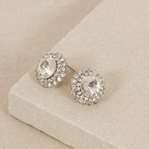 Facet Jewel Circle Diamante Edge Stud Earring