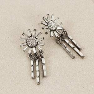 Deco Sunflower Jewel Fringe Drop Mid Earring