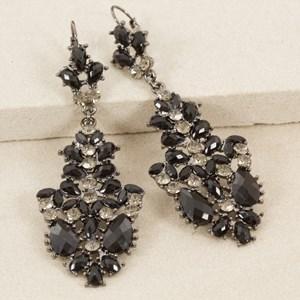 Resin & Diamante Mix Long French Hook Earring