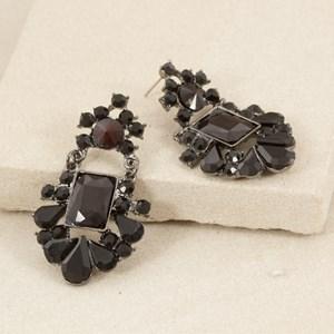 Jewelled Rectangle Almond Edge Chain Drop Earring