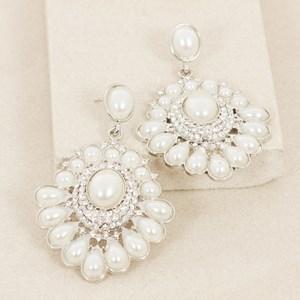 Teardrop Pearl Fan & Diamante Drop Earring