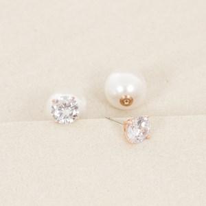 CZ Large Pearl Back Diamante Stud Earring