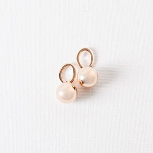 Oval Ring Metal Ball Drop Earring
