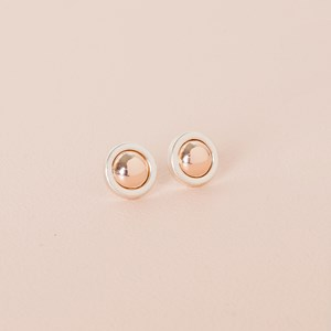 Two Tone Button Stud Earring