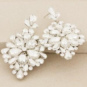 Jewelled Flower Large Almond Drop Earring