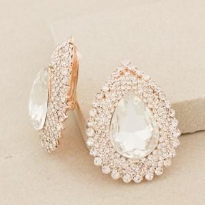 XL Jewel Teardrop Diamante Edge Clip On Earring