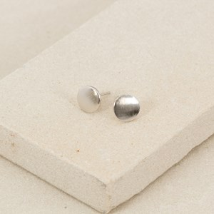 Mini Brushed Flat Disc Stud Earring
