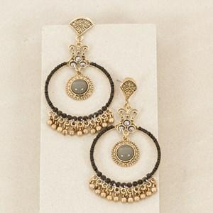 Hoop Drop Metal Ball Charms Ornate Earring