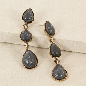 Triple Stone Oval & Spike Drop Earring