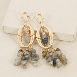 Stone Drops Metal Oval Earring