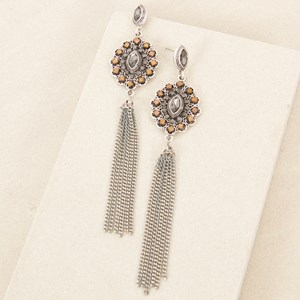 Jewelled Almond Chain Tassel Earring