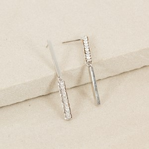 Diamante & Metal Rod Opposite Earring