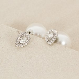 Pearl Back Diamante Teardrop Stud Earring