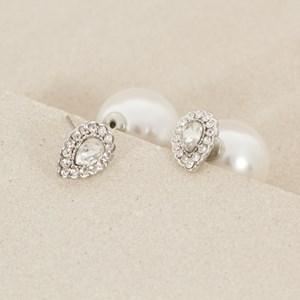 Pearl Back Diamante Teardrop Stud Earring