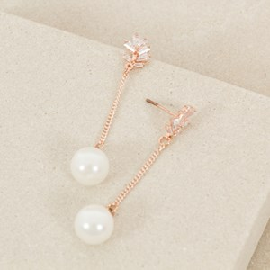 CZ Vine Pearl Chain Drop Earring