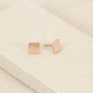 Mini Flat Metal Square Stud Earring