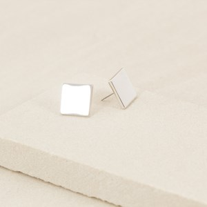 Medium Flat Metal Square Earring