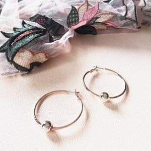 Single Ball Small Hoop Earring