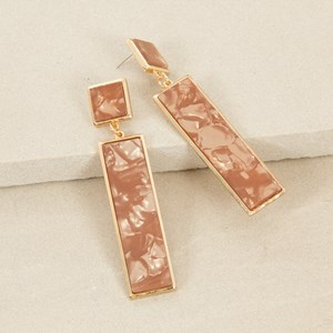Linked Resin Rectangle Drop Earring
