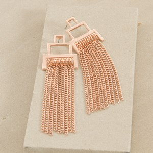 Metal Chain Fringe Architectural Earring