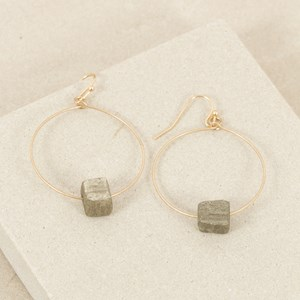 Stone Piece Metal Hoop Hook Earring