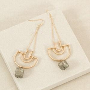 Metal Arch Stone Drop Hook Earring