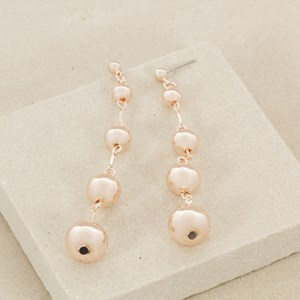 Five Metal Balls Graduated Drop Stud Earring