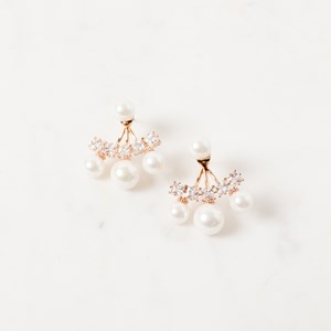 Diamante & Pearl Ear Jacket Stud Earring