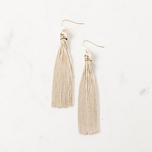 Long Capped Metal Tassel Hook Earring