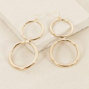 Double Metal Ring Drop Hook Earring
