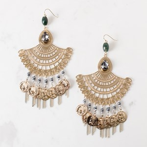 Coin & Chain Droplets Bollywood Fan Earring
