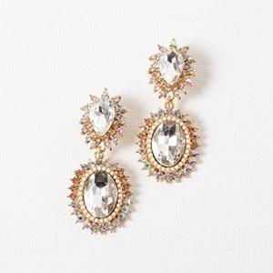 Jewelled Oval Drop Sunburst Clip On Earring