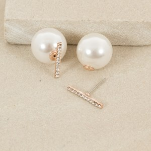Diamante Bar Pearl Back Stud Earring