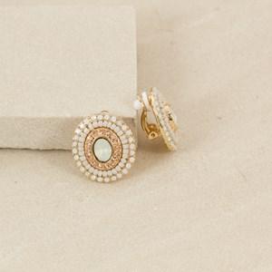 Resin & Jewel Oval Clip On Earring
