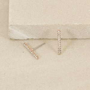 Fine Diamante Bar Stud Earring