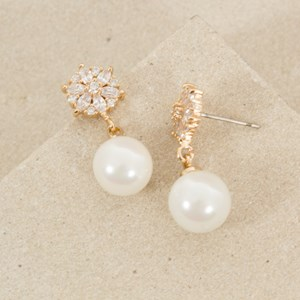 CZ Mini Flower Pearl Drop Earring
